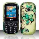 Hard Rubber Feel Design Case for LG Cosmos 2 VN251 (Verizon) - Azure Flowers