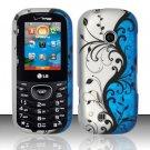 Hard Rubber Feel Design Case for LG Cosmos 2 VN251 (Verizon) - Blue Vines