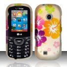 Hard Rubber Feel Design Case for LG Cosmos 2 VN251 (Verizon) - Colorful Flowers