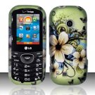 Hard Rubber Feel Design Case for LG Cosmos 2 VN251 (Verizon) - Hawaiian Flowers