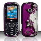 Hard Rubber Feel Design Case for LG Cosmos 2 VN251 (Verizon) - Purple Vines