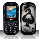 Hard Rubber Feel Design Case for LG Cosmos 2 VN251 (Verizon) - Spade Skull