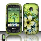 Hard Rubber Feel Design Case for LG Cosmos Touch VN270 (Verizon) - Hawaiian Flowers