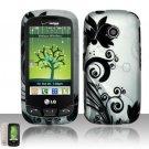 Hard Rubber Feel Design Case for LG Cosmos Touch VN270 (Verizon) - Black Vines