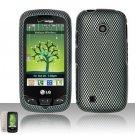 Hard Rubber Feel Design Case for LG Cosmos Touch VN270 (Verizon) - Carbon Fiber