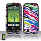 Hard Rubber Feel Design Case for LG Cosmos Touch VN270 (Verizon) - Colorful Zebra