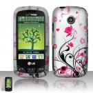 Hard Rubber Feel Design Case for LG Cosmos Touch VN270 (Verizon) - Pink Garden