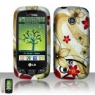 Hard Rubber Feel Design Case for LG Cosmos Touch VN270 (Verizon) - Red Flowers