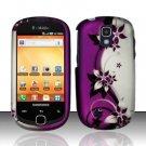 Hard Rubber Feel Design Case for Samsung Gravity Smart T589 - Purple Vines
