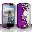 Hard Rubber Feel Design Case for Huawei Impulse 4G (T-Mobile) - Purple Vines