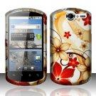 Hard Rubber Feel Design Case for Huawei Impulse 4G (T-Mobile) - Red Flowers
