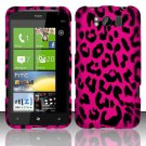 Hard Rubber Feel Design Case for HTC Titan X310e (AT&T) - Pink Leopard