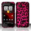 Hard Rubber Feel Design Case for HTC Rezound (Verizon) - Pink Leopard