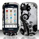Hard Rubber Feel Design Case for Pantech Hotshot 8992 - Black Vines