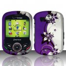 Hard Rubber Feel Design Case for Pantech Jest 2 - Purple Vines