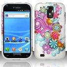 Hard Rubber Feel Design Case for Samsung Hercules/Galaxy S2 - Purple Blue Flowers