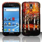 Hard Rubber Feel Design Case for Samsung Hercules/Galaxy S2 - Autumn Forest