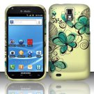 Hard Rubber Feel Design Case for Samsung Hercules/Galaxy S2 - Azure Flowers