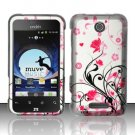 Hard Rubber Feel Design Case for ZTE Score - Pink Garden