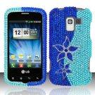 Hard Rhinestone Design Case for LG Enlighten/Optimus Slider - Blue Flowers