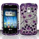 Hard Rhinestone Design Case for LG Enlighten/Optimus Slider - Purple Gems