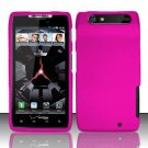 Hard Rubber Feel Plastic Case for Motorola Droid RAZR XT912 (Verizon) - Rose Pink