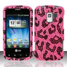 Hard Rhinestone Design Case for LG Enlighten/Optimus Slider - Pink Leopard