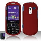 Hard Rubber Feel Plastic Case for Samsung Messager 3 - Red