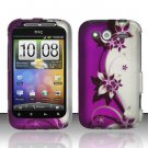 Hard Rubber Feel Design Case for HTC Wildfire S - Purple Vines