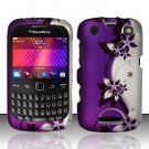 Hard Rubber Feel Design Case for Blackberry Curve 9360/9370 - Purple Vines