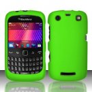 Hard Rubber Feel Plastic Case for Blackberry Curve 9360/9370 - Neon Green