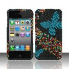Hard Rhinestone Design Case for Apple iPhone 4/4S - Blue Butterfly