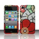 Hard Rhinestone Design Case for Apple iPhone 4/4S - Fall Flowers
