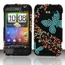 Hard Rhinestone Design Case for HTC DROID Incredible 2 6350 (Verizon) - Blue Butterfly