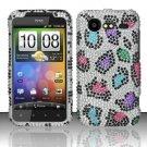 Hard Rhinestone Design Case for HTC DROID Incredible 2 6350 (Verizon) - Colorful Leopard