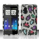 Hard Rhinestone Design Case for HTC EVO Design 4G - Colorful Leopard