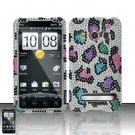 Hard Rhinestone Design Case for HTC EVO 4G - Colorful Leopard