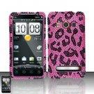 Hard Rhinestone Design Case for HTC EVO 4G - Pink Leopard