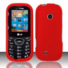Hard Rubber Feel Plastic Case for LG Cosmos 2 VN251 (Verizon) - Red