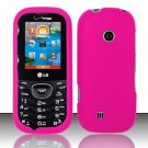 Hard Rubber Feel Plastic Case for LG Cosmos 2 VN251 (Verizon) - Rose Pink