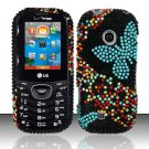 Hard Rhinestone Design Case for LG Cosmos 2 VN251 (Verizon) - Blue Butterfly