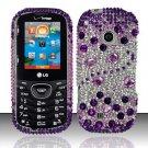 Hard Rhinestone Design Case for LG Cosmos 2 VN251 (Verizon) - Purple Gems