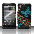 Hard Rhinestone Design Case for Motorola Droid X MB810 (Verizon) - Blue Butterfly