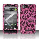 Hard Rhinestone Design Case for Motorola Droid X MB810 (Verizon) - Pink Leopard