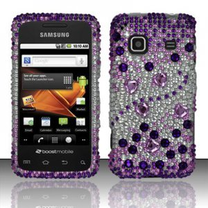 Hard Rhinestone Design Case for Samsung Galaxy Prevail M820 Purple