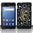 Hard Rhinestone Design Case for Samsung Infuse 4G - Black Butterfly