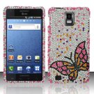 Hard Rhinestone Design Case for Samsung Infuse 4G - Fluorescent Butterfly