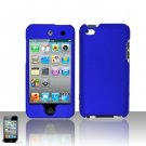 Hard Rubber Feel Plastic Case for Apple iPod Touch 4 - Blue