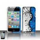 Hard Rubber Feel Design Case for Apple iPod Touch 4 - Blue Vines