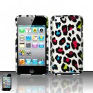 Hard Rubber Feel Design Case for Apple iPod Touch 4 - Colorful Leopard